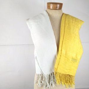 Bright Yellow/ White 100% Pashmina Scarves